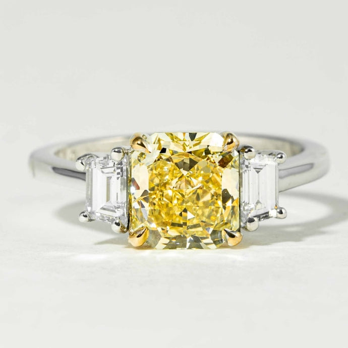 1.74 carat Fancy Intense Yellow Canary Cushion Cut 3-Stone Diamond Ring (GIA Certified Two Tone) - ENGAGEMENT Boston