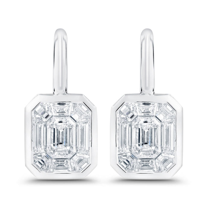 1.79ctw Baguette Cut Diamond Drop Earrings (White Gold) - Jewelry Designers Boston