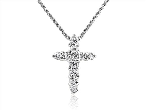 1.80 Carat Diamond Cross Pendant Necklace (Platinum) - Jewelry Boston
