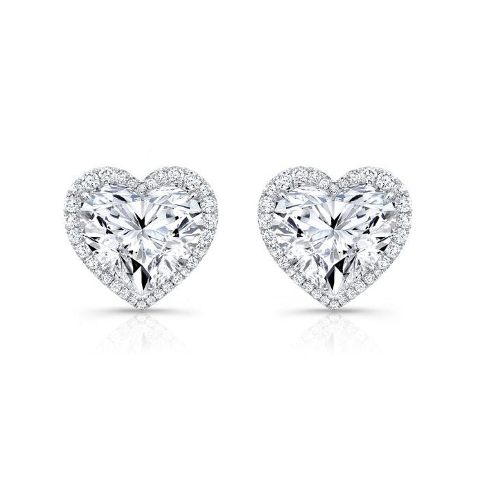 1.80 Carat D/SI1-2 Heart Shape Halo Studs GIA Certified - Boston