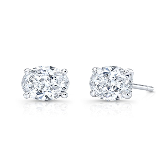 1.80ctw Oval Diamond Stud Earrings (GIA Certified White Gold) - Jewelry Designers Boston