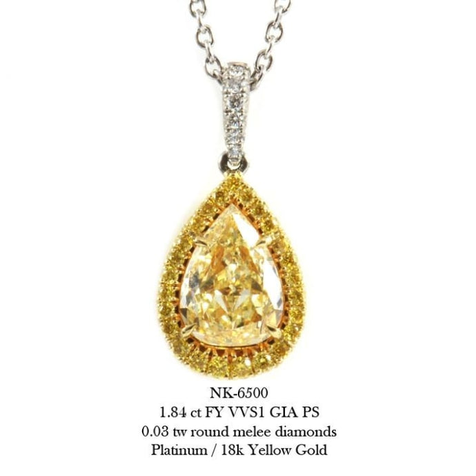 1.84 Carat Fancy Yellow Pear Shape Diamond Pendant Necklace (Platinum) - Jewelry Boston