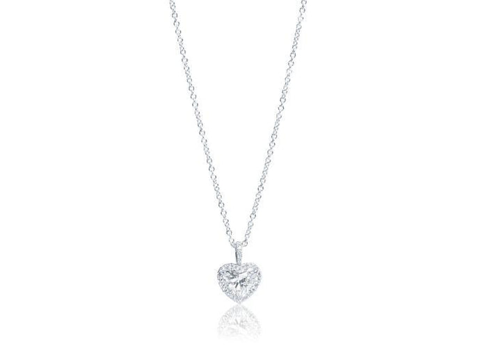 White Gold Heart Shape Diamond Pendant - Jewelry Designers Boston