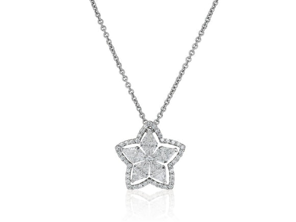 1.86 Carat Star Shape Diamond Pendant Necklace (14K White Gold) - Jewelry Boston