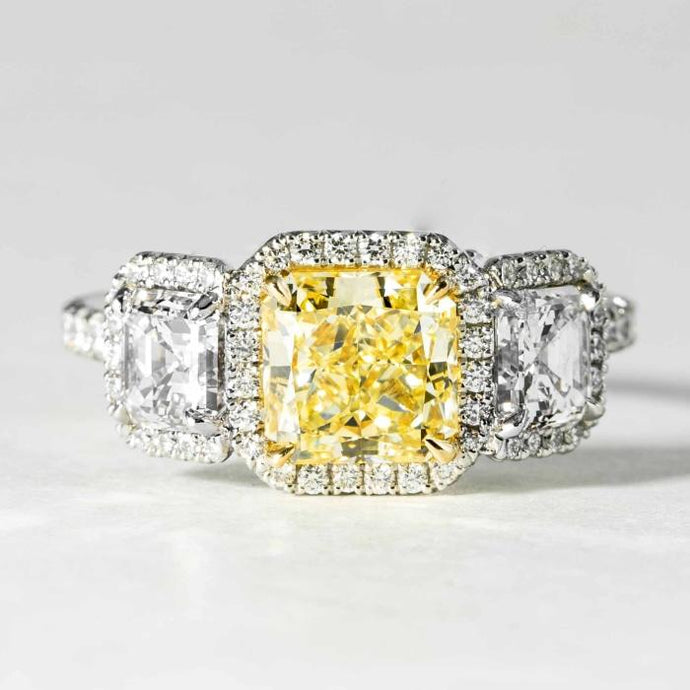 1.87 carat FY/VS2 Radiant Cut Canary 3-Stone Diamond Ring (GIA Certified Two Tone) - ENGAGEMENT Boston