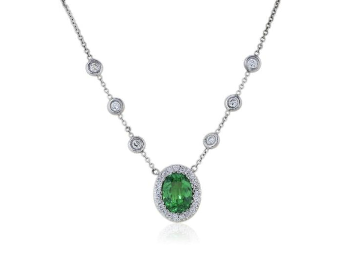 1.88 Carat Tsavorite Diamond Pendant - Jewelry Boston
