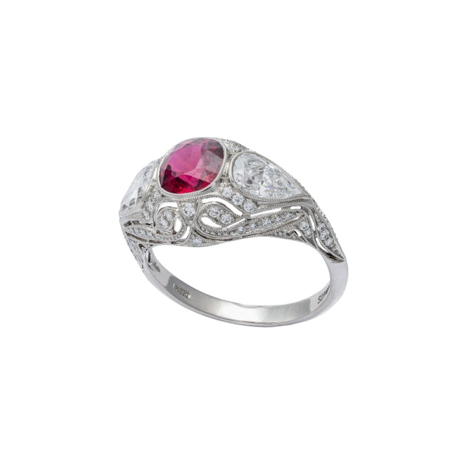 1.90 CTW Ruby Ring (Platinum) - JEWELRY Boston