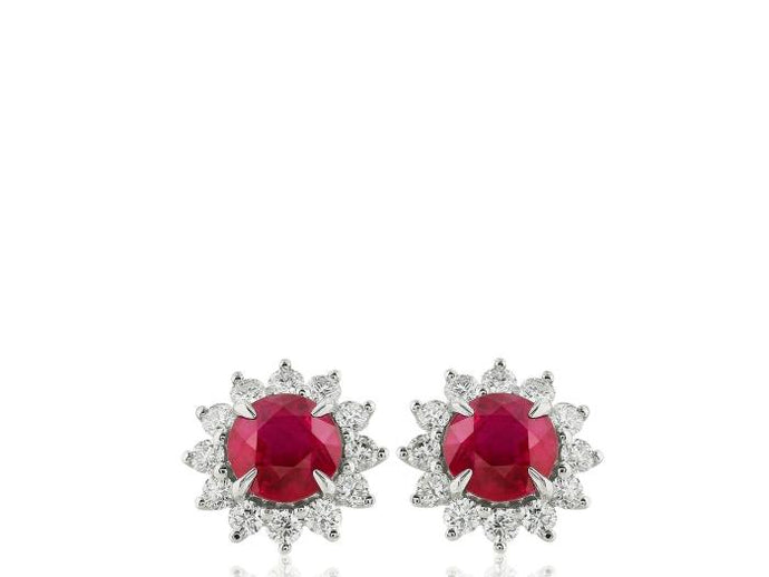 1.92ct Ruby & Diamond Earrings - Boston