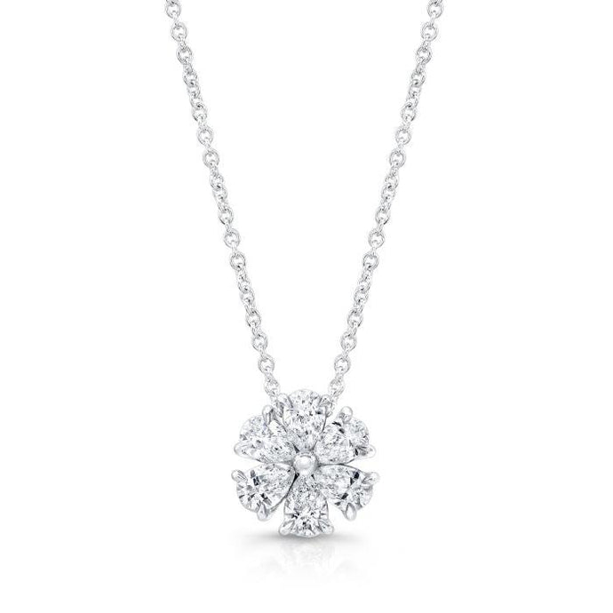 1.92ctw Pear Shape Diamond Flower Motif Pendant (White Gold) - Jewelry Designers Boston