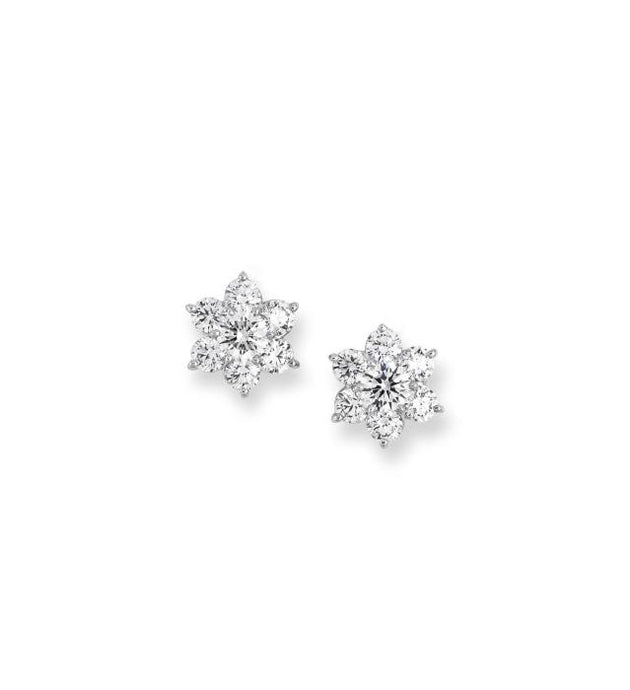 1.92CTW Round Diamond Flower Earrings - Boston