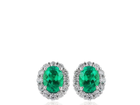 1.93 Carat Emerald & Diamond Earrings - Jewelry Boston
