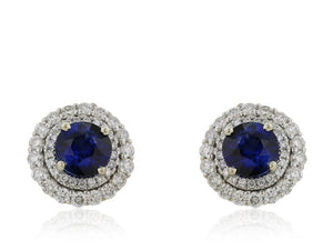 1.94 Carat Round Cut Ceylon Sapphire Earrings W/ Diamonds (14K White Gold) - Jewelry Boston