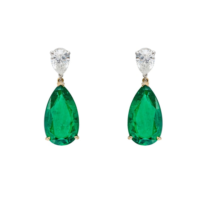1.95ctw Diamond and 15.70ctw Emerald Pear Shape Earrings - JEWELRY Boston