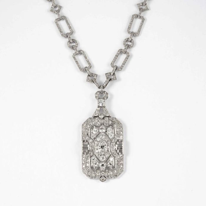 Plat French Diamond 26 inch Sautoire Necklace with diamond plaque at bottom - Boston