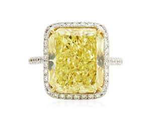 10.01 Carat Fancy Intense Yellow Radiant Cut Diamond Ring - Jewelry Boston