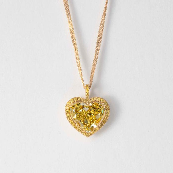 18 kt Heart Shape Natural Canary 10.01 solitaire pendant - Boston