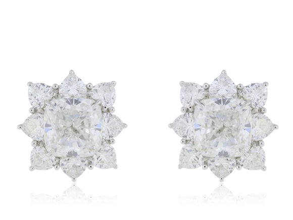 10.03 Carat Cushion Cut Diamond Cluster Earrings - Jewelry Boston