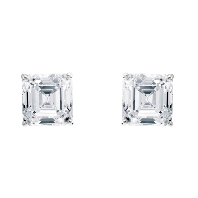 10.06ctw Asscher Cut Diamond Stud Earrings (GIA Certified Platinum) - JEWELRY Boston
