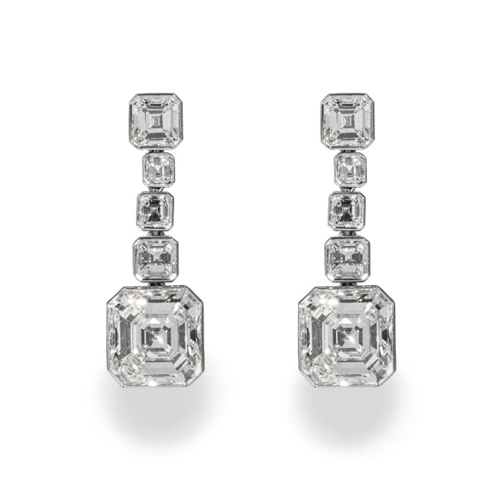 10.07 carat Asscher Cut Diamond Drop Earrings Platinum (GIA Certified) - JEWELRY Boston