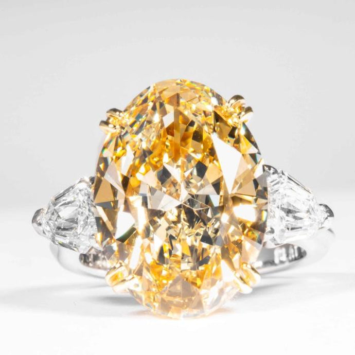 10.09 carat Fancy Yellow Oval Cut 3-Stone Canary Diamond Ring (GIA Certified) - ENGAGEMENT Boston