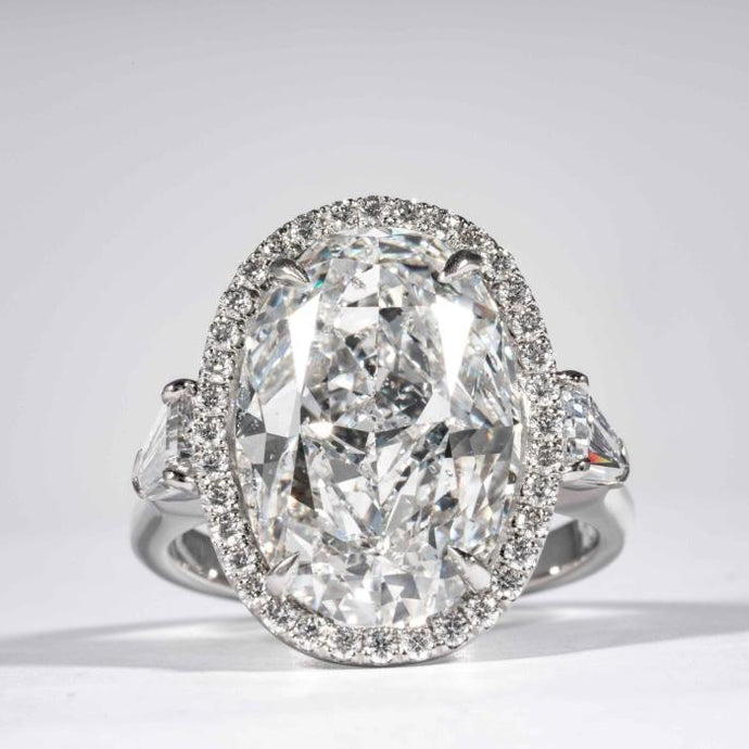 18 kt wg 10.14 Carat GIA #5191700917 D SI2 Oval Diamond Halo engagement ring - Boston