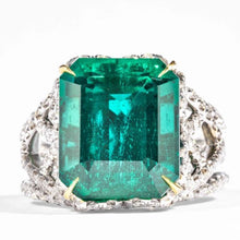 Load image into Gallery viewer, 10.18 carat Emerald & Diamond Ring (18k White & Yellow Gold) - JEWELRY Boston