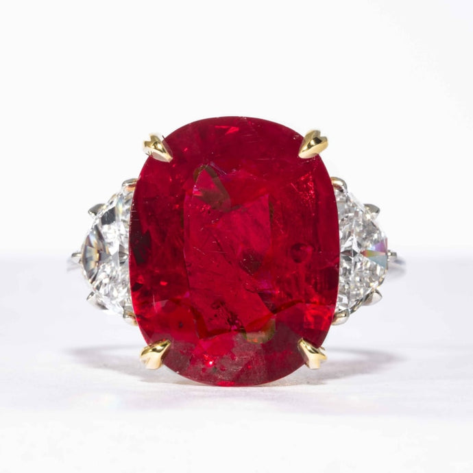 10.24 carat Royal Red Ruby 3-Stone Platinum and 18kt Yellow Gold Ring (AGL Cert.) - JEWELRY Boston