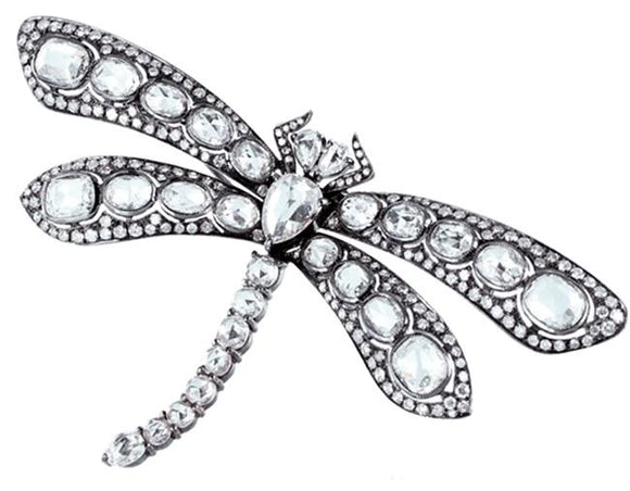 10.40 Carat Rose Cut Diamond Dragonfly Pin (18K White Gold) - Jewelry Boston