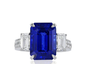 10.41 Carat Ceylon Royal Blue Sapphire Ring (Platinum) - Jewelry Boston