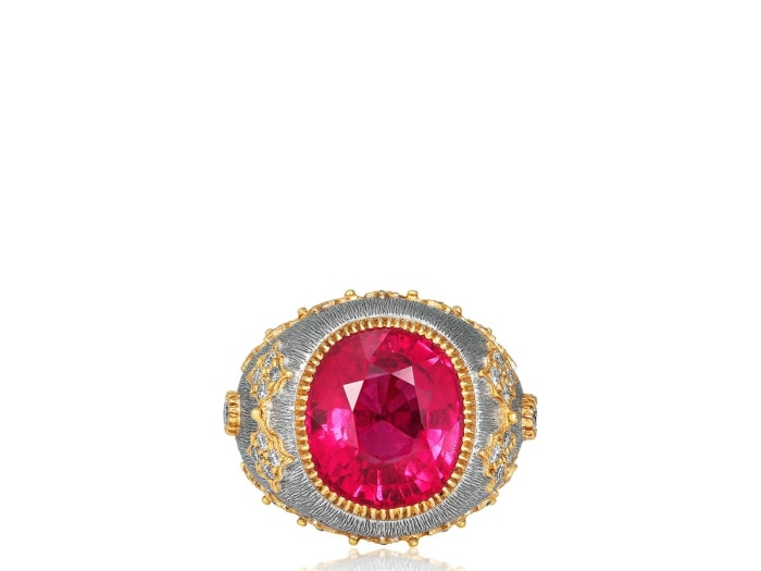 10.67 Carat Pink Tourmaline Ring (18K White & Yellow Gold) - Jewelry Boston