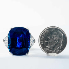 Load image into Gallery viewer, 10.94 carat Royal Blue Sapphire 3-Stone Ring (GRS Certified Platinum) - JEWELRY Boston