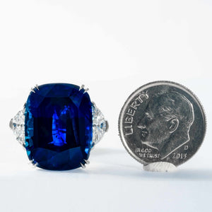 10.94 carat Royal Blue Sapphire 3-Stone Ring (GRS Certified Platinum) - JEWELRY Boston