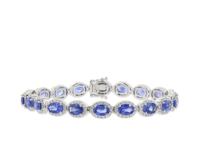 11.12ct Sapphire & Diamond Bracelet (White Gold) - JEWELRY Boston