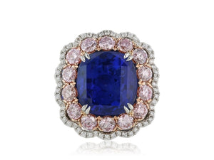 11.16 Carat Cushion Cut Blue Sapphire Ring (Platinum) - Jewelry Boston
