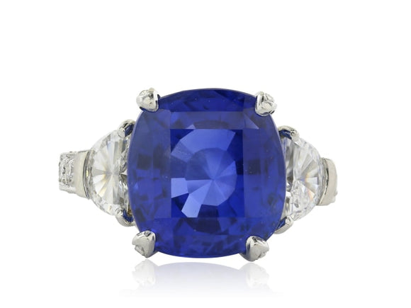 11.16 Carat Gia No Heat Sapphire And Diamond Ring. - Jewelry Boston