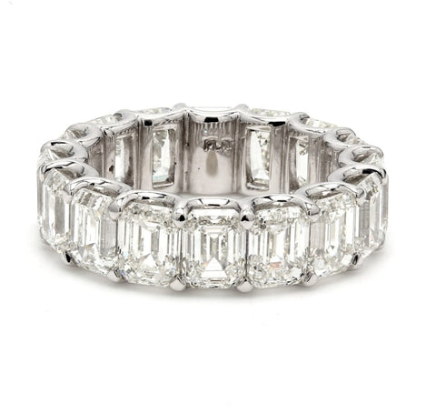 11.38ctw Emerald Cut Diamond Eternity Band (H/VS Platinum) - JEWELRY Boston