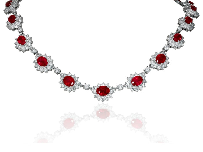 11.55ct Burma Ruby & Diamond Cluster Necklace (18k White Gold) - JEWELRY Boston