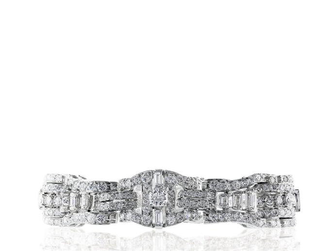 12.00 Carat Art Deco Diamond Bracelet (Platinum) - Jewelry Boston