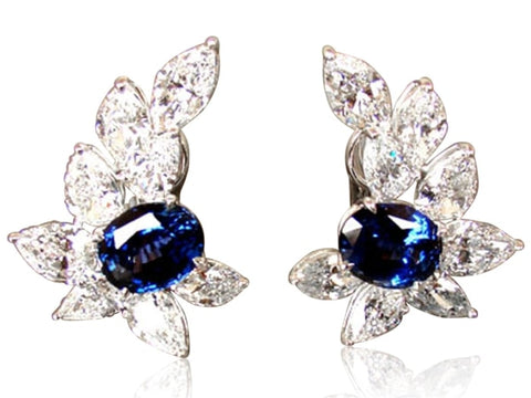 12.22 Carat Ceylon Sapphire Cluster Style Earrings (Platinum) - Jewelry Boston