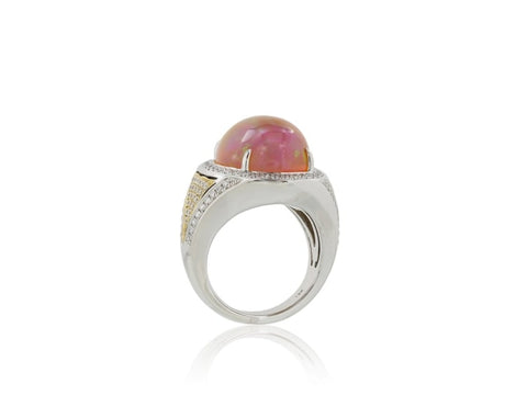 12.36 Carat Opal And Diamond Ring (18K White Gold) - Jewelry Boston