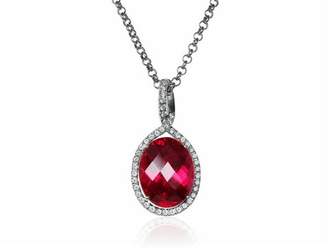 12.45 Carat Rubellite Tourmaline And Diamond Pendant Necklace (18K White Gold) - Jewelry Boston