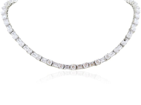 12.50 Carat Round Brilliant Cut Diamond Necklace (Platinum) - Jewelry Boston
