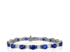 12.54 Carat Sapphire Bracelet W/ Diamonds (18K White Gold) - Jewelry Boston