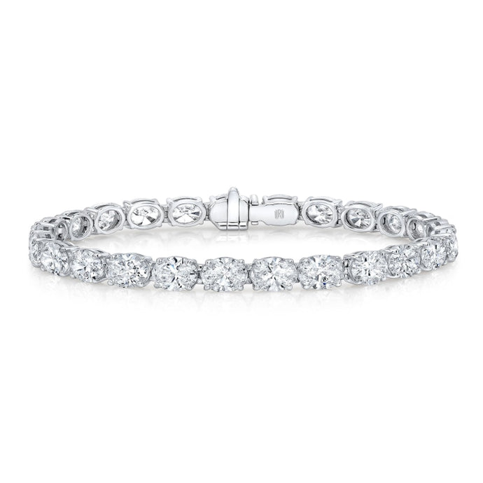12.69ctw Oval Shaped Diamond Tennis Bracelet (White Gold) - Jewelry Designers Boston