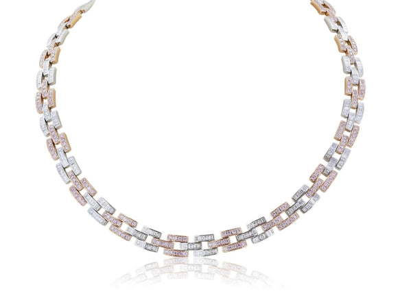12.81 Carat Argyle Pink Diamond Panther Link Necklace - Jewelry Boston