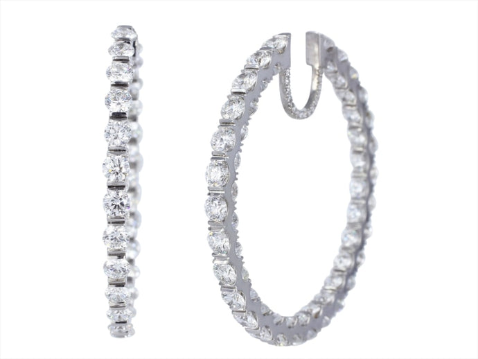 12.86ctw Round Brilliant Diamond Hoop Earrings (White Gold) - Jewelry Designers Boston
