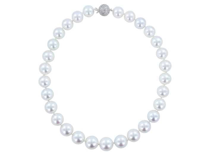 12Mm South Sea Pearl And Diamond Necklace - Jewelry Boston