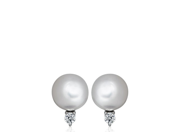 12Mm South Sea Pearl & Diamond Earrings - Boston
