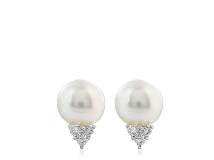 12 MM South Sea Pearl .60 Carat Diamond Studs - Boston