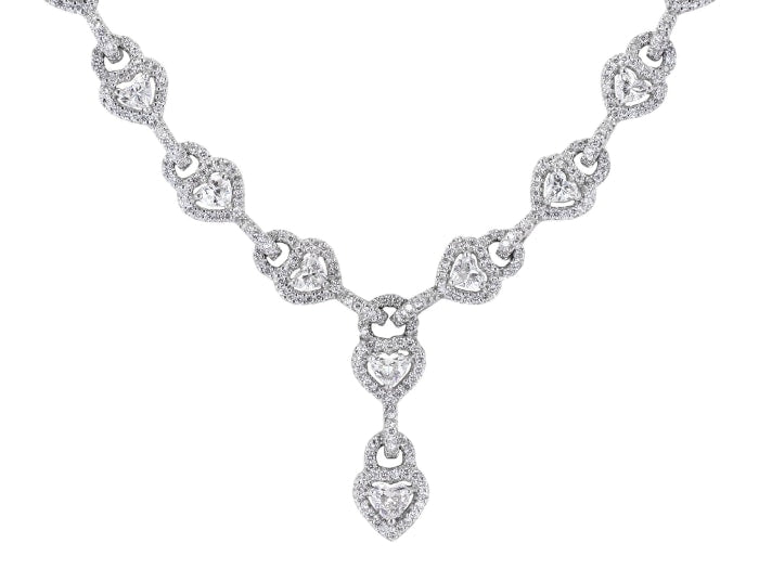13.28 Carat Heart & Round Cut Diamond Necklace - Jewelry Boston